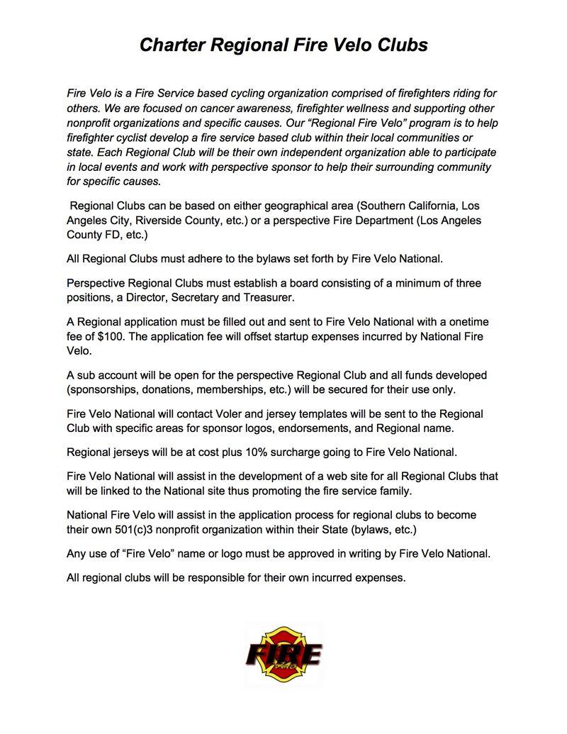 Charter Regional Fire Velo Clubs