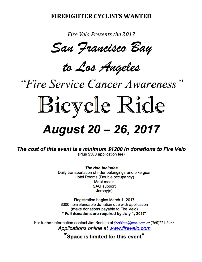 Fire Velo Cycling Club San Francisco Bay To Los Angeles Hotel Telephone Wiring Diagram 2017 Sf La Flier