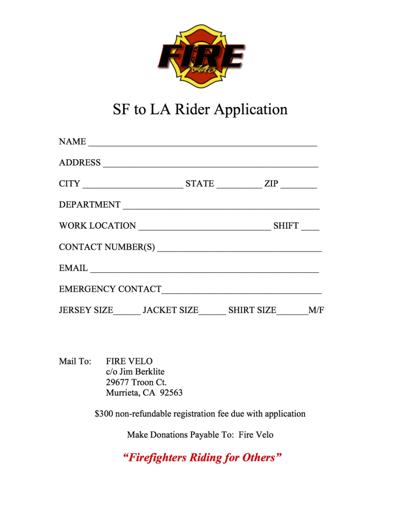 2019 SF to LA Rider Application